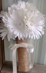 Silk White Daisy Wedding Bouquet wrapped in Natural Twine - Silk Flowers By Jean
