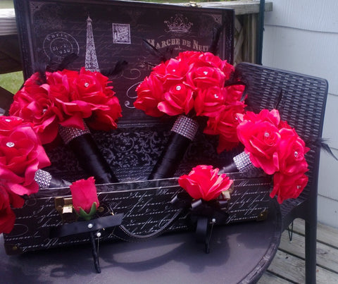 17 Piece Red Rose with Black Feathers Wedding Bouquet Set