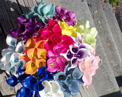 Calla Lily Artificial Real Touch Single Sample, White Calla Lily, Orange Calla Lily, Blue Calla Lily, Hot Pink Calla Lily, Ivory Calla Lily