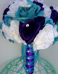 17 Piece Malibu Blue Purple White Bridal Bouquet Rose Wedding Flower Set, Malibu Blue Bouquet, Purple Bouquet, Wedding Bouquet Purple Bridal - Silk Flowers By Jean