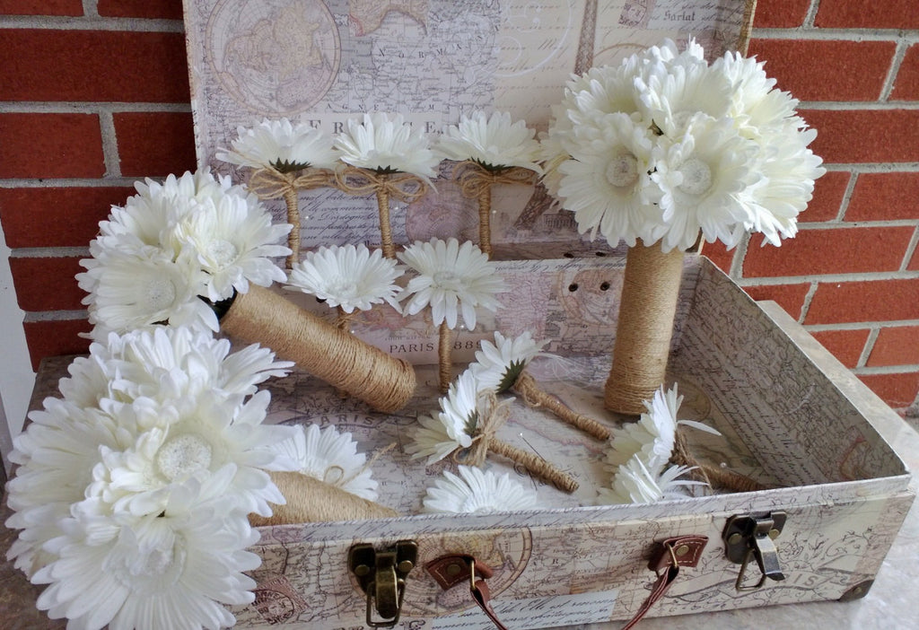 12 Piece Ivory Daisy Bouquet Bridal Bouquet Wedding Bouquet Set, Ivory Bouquet, Cream bouquet, Rustic Bouquet, Rustic wedding Ivory Flowers - Silk Flowers By Jean