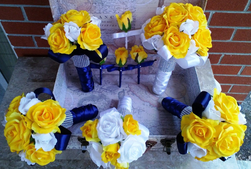 Yellow Rose Bouquet, 17 Piece Wedding Package, Yellow White Bouquet, Yellow Navy Bouquet, Yellow White Rose Bouquet Yellow Navy Wedding
