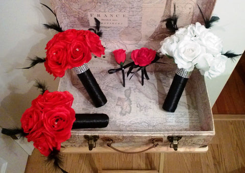 17 Piece Red Bouquet Black Feathers White Bouquet Black Feathers Wedding Set, Red Rose Red Black bouquet Feather Bouquet White Black Bouquet