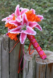 17 Piece Silk Pink Stargazer Lily Orange Daisy Wedding Bouquet Set