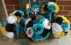 17 Piece Turquoise Malibu Blue Yellow Brown White Wedding Bouquet Set, Malibu Blue Bouquet Fall Wedding Turquoise Brown Bouquet Fall Bouquet