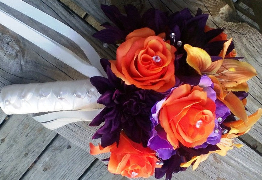 Eggplant Orange Wedding Bouquet with Boutonniere, Fall Bouquet, Fall Wedding, Bridal Orange Purple Bouquet, Orange Bouquet, Eggplant Bouquet