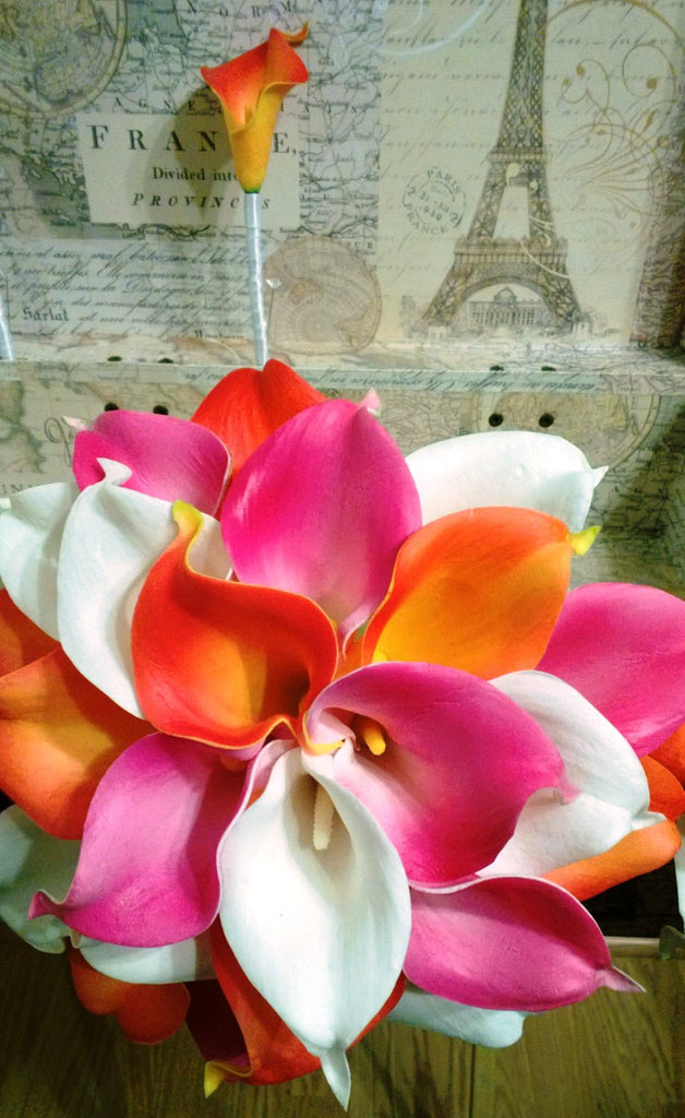 Real Touch Orange Hot Pink White Calla Lily Wedding Bouquet 2 Piece Set, Orange Hot Pink Bouquet, Calla Lily Bouquet Beach Wedding - Silk Flowers By Jean