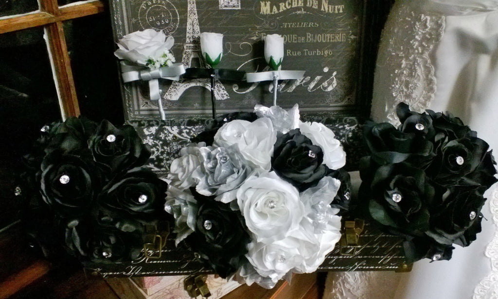 17 Piece Silver Black White Rose Wedding Flower Set - Silk Flowers By Jean