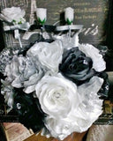 17 Piece Silver Black White Rose Wedding Flower Set, Bridal Bouquet Silver Black Wedding, Rose Silver Black Bouquet, White Black Bouquet