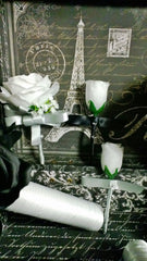 17 Piece Silver Black White Rose Wedding Flower Set