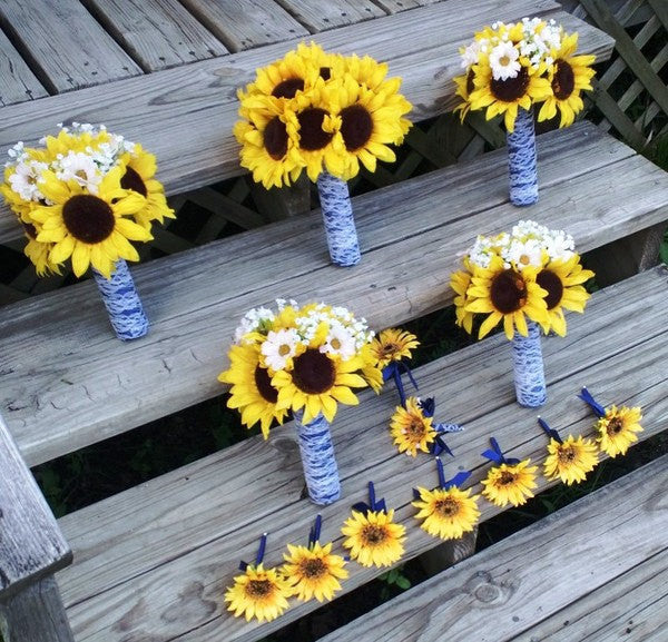 14 piece Silk Sunflower Bouquet Rustic Wedding Flower Set with Matching Boutonnieres & Corsages - Silk Flowers By Jean