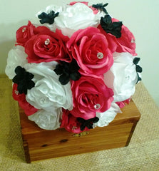 17 Piece Hot Pink White Black Bouquet Hot Pink Bridal Bouquet Wedding Set, Hot Pink White Bouquet, Hot Pink Black Bouquet, Hot Pink Wedding - Silk Flowers By Jean