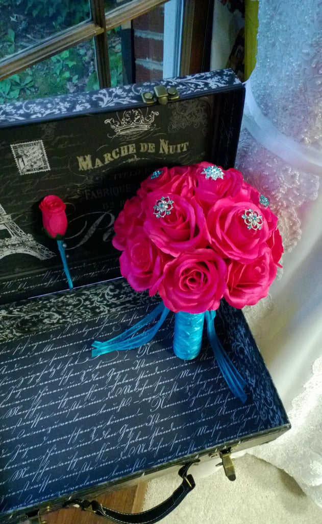 Hot Pink Bouquet, Hot Pink Rose Malibu Blue Brooch Bouquet with matching Boutonniere, Hot Pink Rose Bouquet, Pink Turquoise Bridal Bouquet