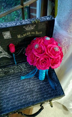 Hot Pink Bouquet, Hot Pink Rose Malibu Blue Brooch Bouquet with matching Boutonniere, Hot Pink Rose Bouquet, Pink Turquoise Bridal Bouquet - Silk Flowers By Jean
