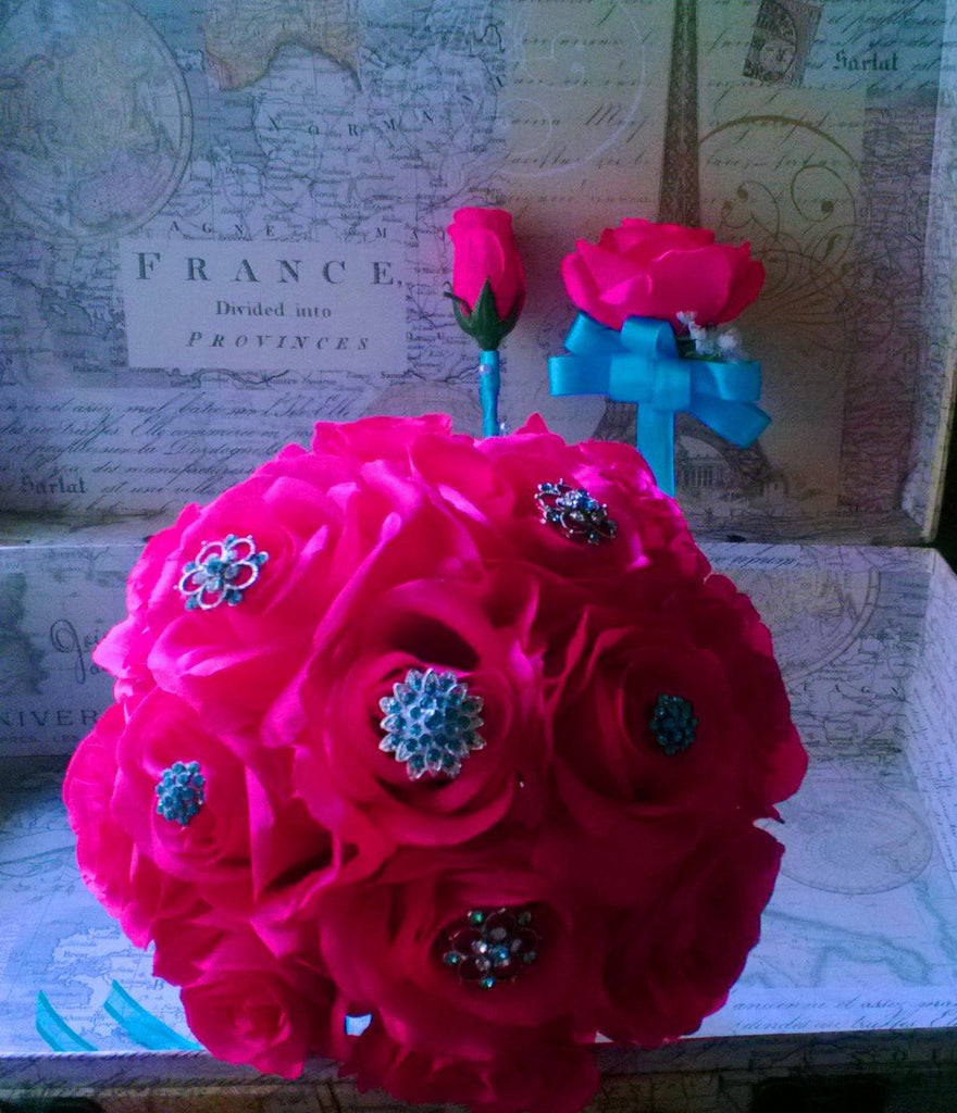 Silk Hot Pink Rose Malibu Blue Brooch Bouquet With Matching