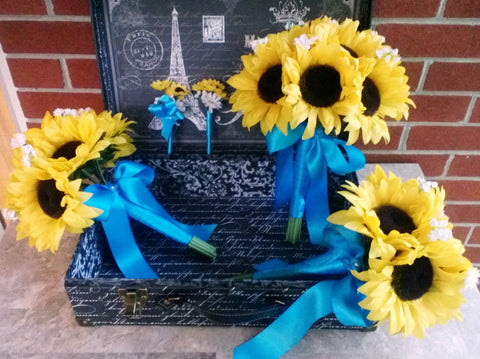 10 piece Silk Sunflower Wedding Bouquet Set with Matching Boutonnieres & Corsages wrapped in Malibu Blue Satin Ribbon