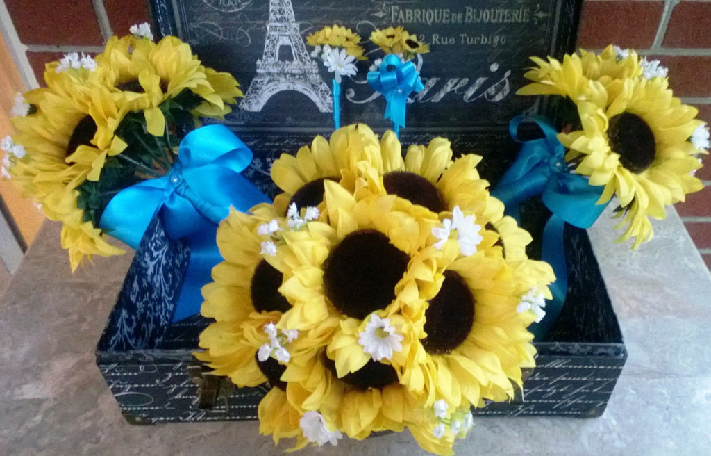 Sunflower Bouquet 10 Piece Wedding Package with Boutonniere & Corsages - Silk Flowers By Jean
