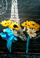 10 piece Silk Sunflower Wedding Bouquet Set with Matching Boutonnieres & Corsages wrapped in Malibu Blue Satin Ribbon - Silk Flowers By Jean