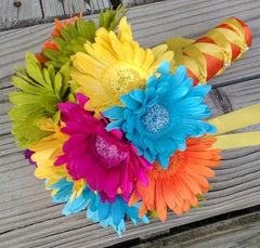 15 Piece Colorful Daisy Rainbow Wedding Bouquet Flower Set - Silk Flowers By Jean