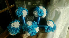17 Piece Malibu Blue White Rose Bridal Bouquet Wedding Bouquet Set, Malibu Blue White Bouquet, Turquoise White Bouquet, Malibu Blue Wedding