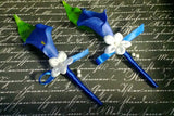 2 Real Touch Royal Blue Calla Lily Boutonniere Set