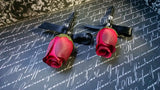 2 Red Rose Boutonniere Set, Red Boutonniere, Red Black Wedding, Red Groom's Flower, Red Groomsmen, Red Groom Boutonniere, Red Rose Men