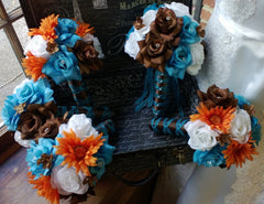 Wedding Bouquet 17 Piece Set Malibu Blue Orange Brown White Rose Flower Set, Malibu Blue Bouquet, Blue Orange Bouquet Brown Fall Bouquet - Silk Flowers By Jean