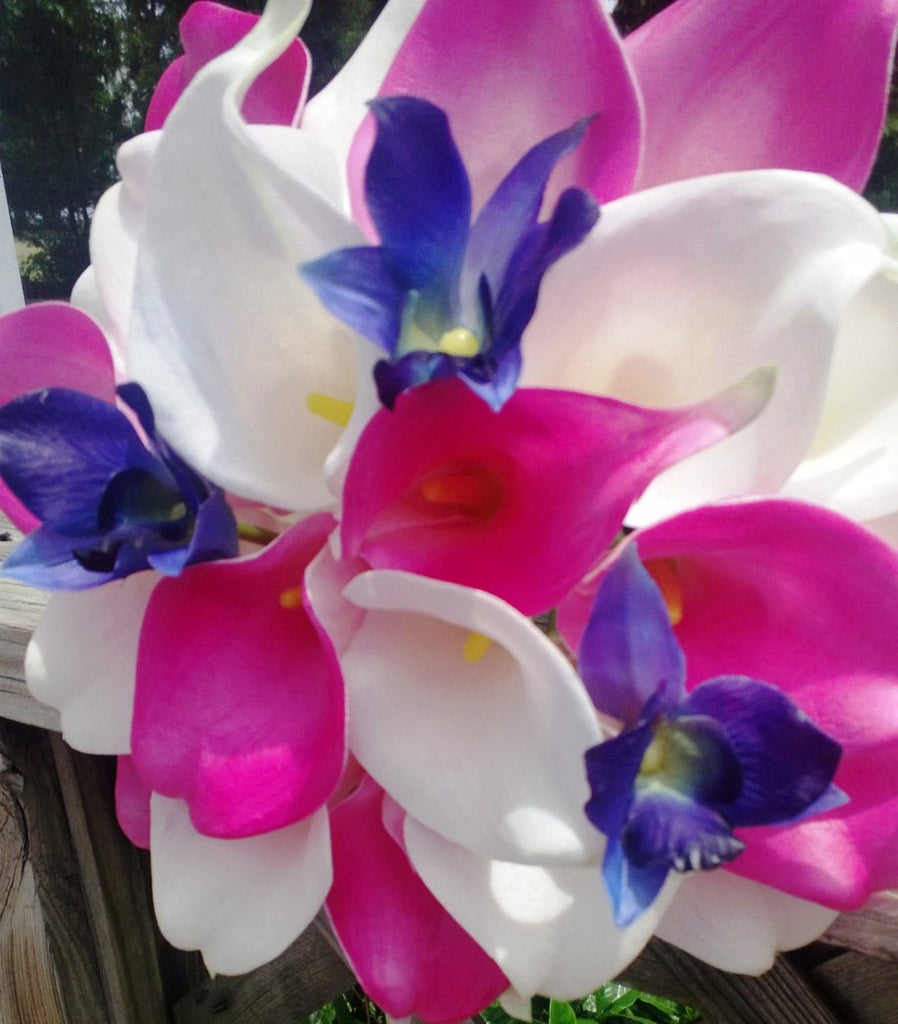 Real Touch Hot Pink White Calla Lily Royal Blue Orchid Wedding