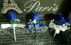 17 Piece Royal Blue Rose White Lily Wedding Bouquet Set - Silk Flowers By Jean