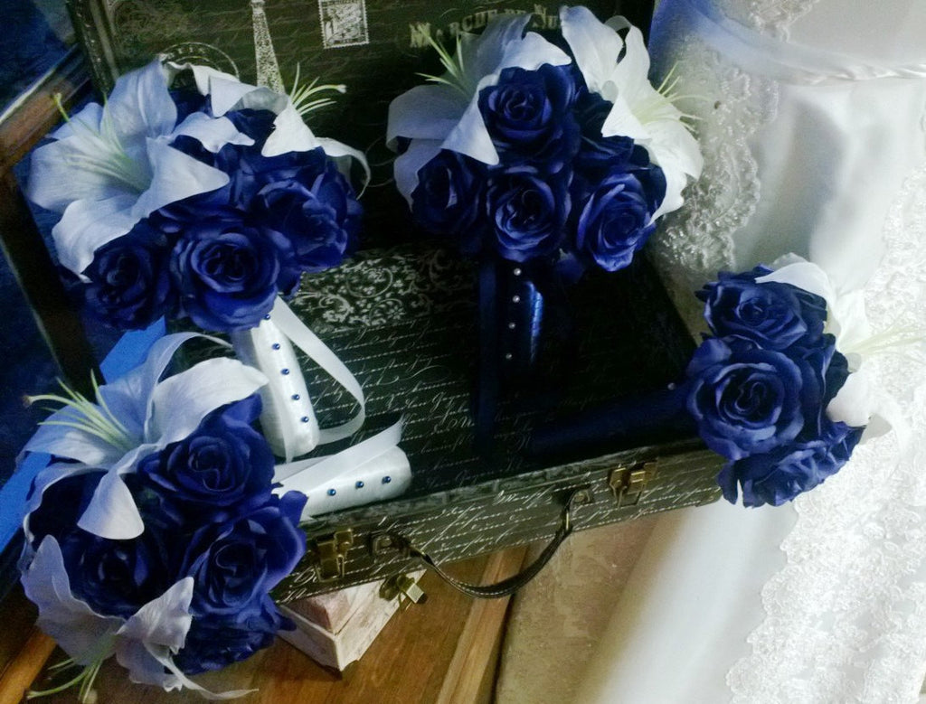 17 Piece Royal Blue Rose White Lily Wedding Bouquet Set Blue Bridal
