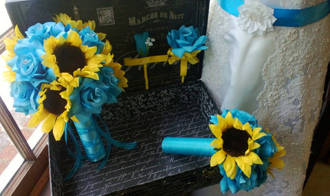 10 piece Silk Sunflower & Malibu Blue Rose Wedding Bouquet Set with Matching Boutonnieres & Corsages