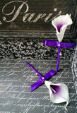 Boutonniere Set Real Touch White Purple Center Calla Lily, Purple Mens Flowers, Purple White Boutonniere, Purple Groomsmen Flowers