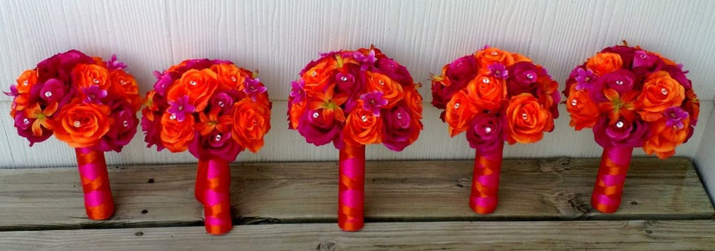 17 Piece Orange Hot Pink Wedding Bouquet Flower Set, Pink Orange Bouquet, Hot Pink Bouquet Bridal Bouquet Bridesmaid Hot Pink Orange - Silk Flowers By Jean