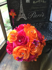 Orange Hot Pink Wedding Bouquet with Boutonniere, Pink Orange Bouquet, Hot Pink Bouquet Bridal Bouquet Bridesmaid Hot Pink Orange Bridesmaid