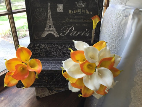 3 Piece Real Touch Orange White Calla Lily Wedding Bouquet Flower Set
