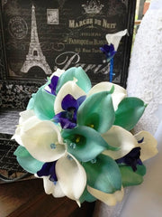 Real Touch Aqua Blue & White Calla Lily Royal Blue Orchid Wedding Bouquet with Boutonniere, Aqua Blue Bouquet Calla Lily Bouquet Orchid - Silk Flowers By Jean