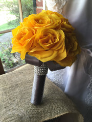 Wedding Bouquet Real Touch Yellow Rose Bridal Bouquet, Yellow Bouquet, Yellow Gray Bouquet, Yellow Wedding, Bridal Yellow Bridesmaid - Silk Flowers By Jean