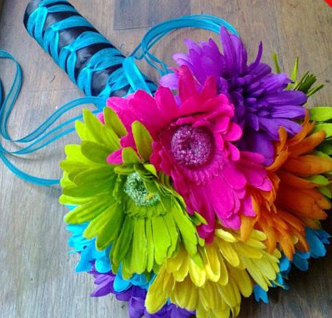 Colorful Silk Daisy Rainbow Wedding Bouquet - Silk Flowers By Jean