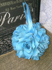 Sale - Malibu Blue Kissing Ball, Malibu Blue Flower Ball, Malibu Blue Pomander, Malibu Kissing Ball, malibu Blue Flower Girl