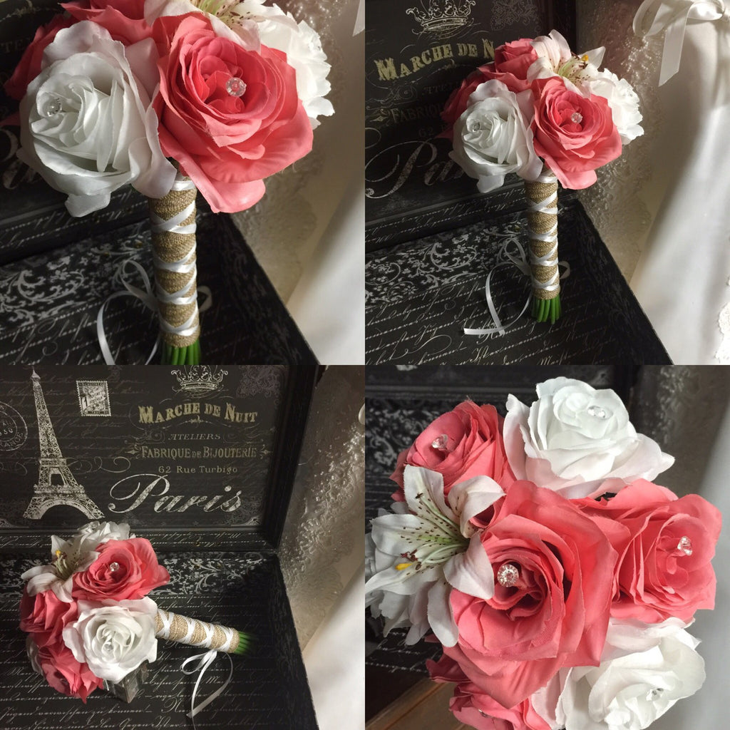 Ready To Ship Real Touch Coral White Rustic Beach Wedding Bouquet wrapped in Natural Burlap - Silk Flowers By Jean