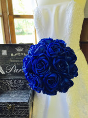 Real Touch Royal Blue Rose Wedding Bouquet, Royal Blue Bouquet, Royal Blue Bridal, Royal Blue Wedding, Royal Blue Bridesmaid - Silk Flowers By Jean