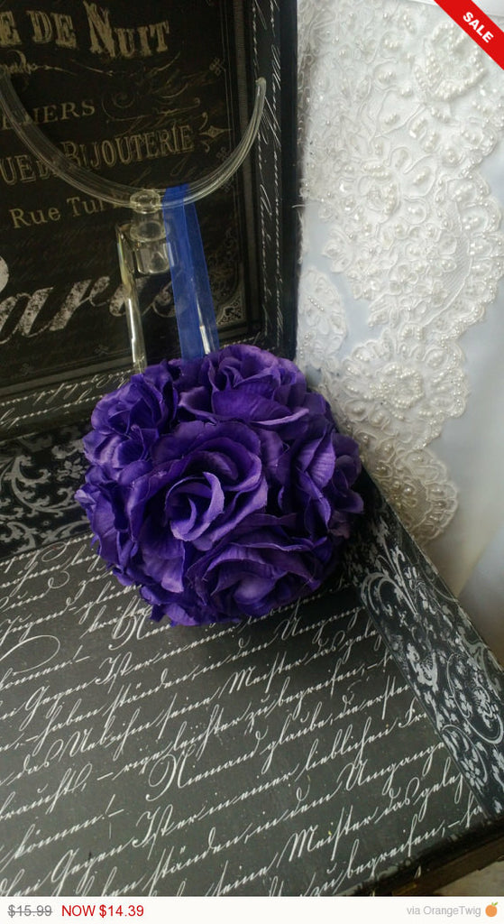 Sale -  Purple Kissing Ball, Purple Flower Ball, Purple Pomander, Purple Flower Girl, Purple Wedding Decorations, Purple Bridesmaid Flowers