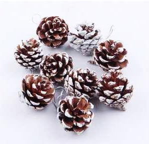 Pinecone Ornament Set of 8, Christmas Ornament, Pinecone Decoration - Silk Flowers By Jean