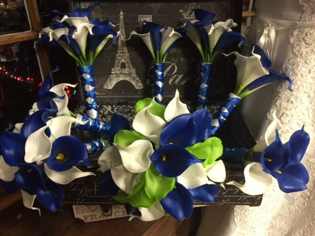 Royal Blue White Lime Calla Lily Bridal Bouquet Wedding Flower 17 Piece Set - Silk Flowers By Jean