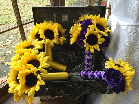 Sunflower Wedding Bouquet Purple Rose 17 piece Flower Set
