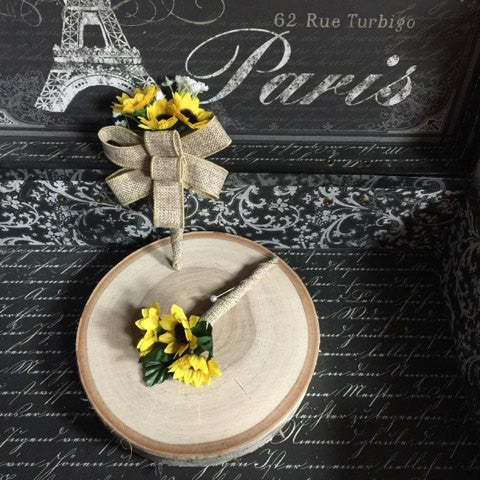 Sunflower Boutonniere & Matching Pin on Corsage Set, Burlap Boutonniere, Rustic Men's Flower Sunflower wedding, Yellow Boutonniere - Silk Flowers By Jean