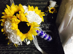 Sunflower Bouquet Set, Sunflower White Rose Bridal Bouquet, Sunflower Wedding Bouquet Yellow white Bouquet, Sunflower Purple Bouquet