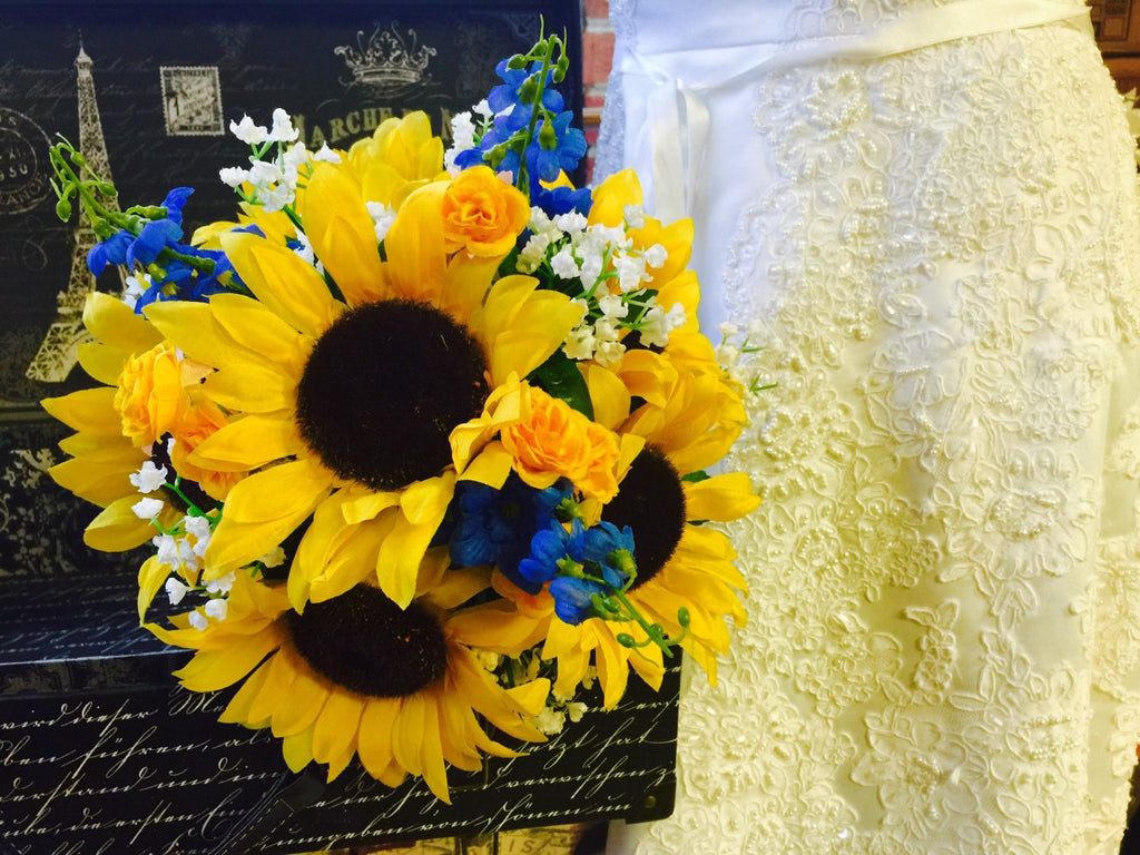 Sunflower Bouquet, Sunflower Babies Breath Blue Silk Flowers Bridal Bouquet, Sunflower Wedding Bouquet Yellow white Bouquet, Rustic Bouquet - Silk Flowers By Jean
