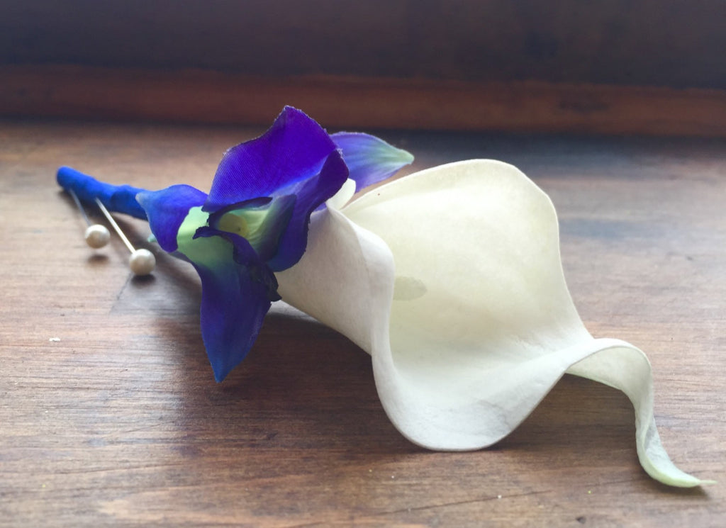 Blue White Boutonniere Real Touch Sonia Blue Orchid White Calla
