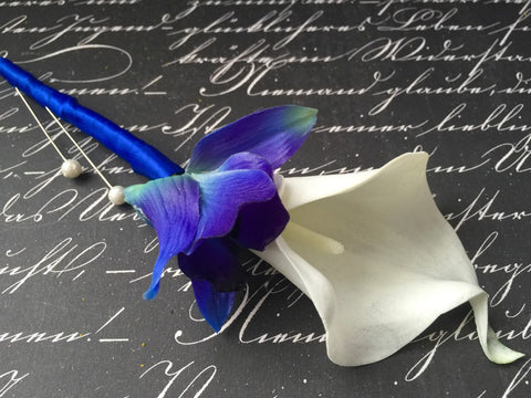 Blue White Boutonniere, Real Touch Sonia Blue Orchid & White Calla Lily Boutonniere